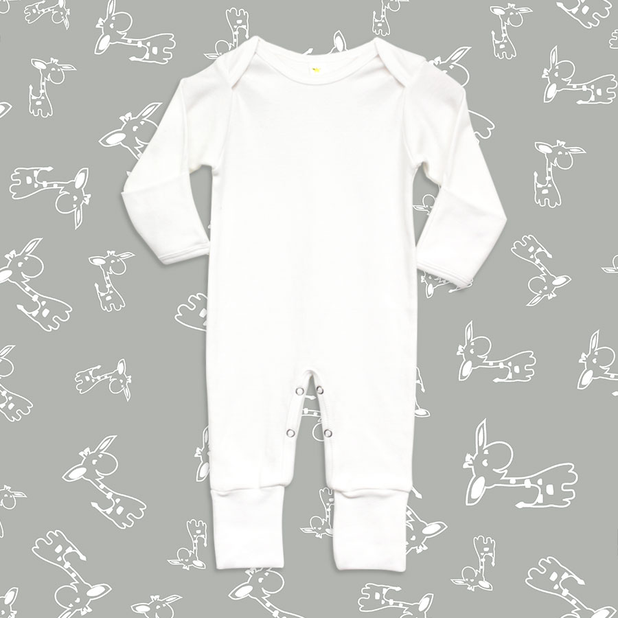 Laughing Giraffe Convertible Infant Baby Gown with fold-Over Mittens White