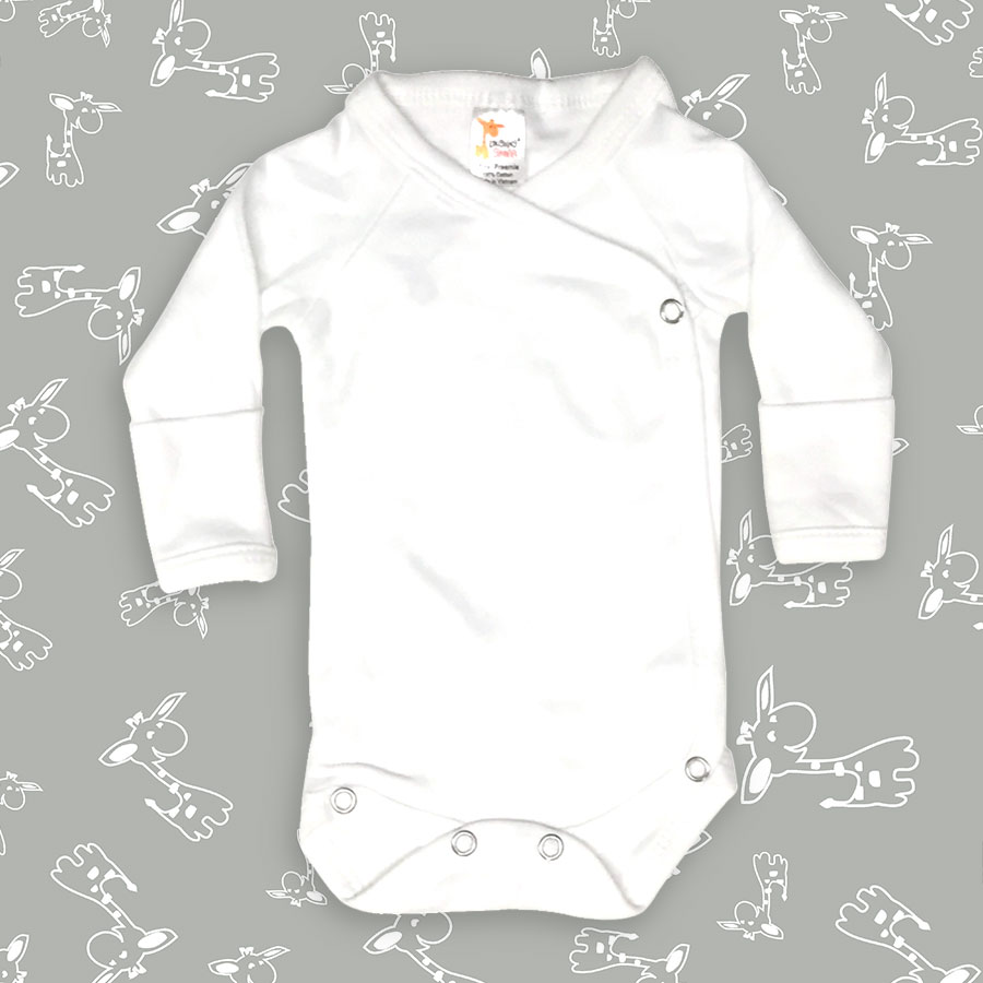 0-3M, Heather Grey Laughing Giraffe Baby Infant Blank Long Sleeve Sleeper Gown with Mitten Cuffs